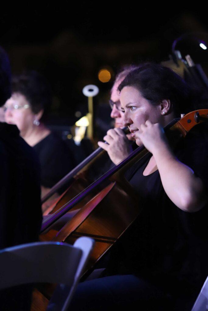 closeup cello players